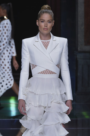 PARIS, FRANCE - OCTOBER 01: Doutzen Kroes walks the runway during the Balmain show as part of the Paris Fashion Week Womenswear Spring/Summer 2016 on October 1, 2015 in Paris, France.