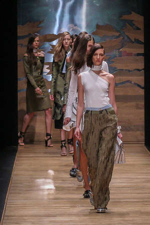 finale: PARIS, FRANCE - SEPTEMBER 30: Models walk the runway finale during the Guy Laroche show as part of the Paris Fashion Week Womenswear SpringSummer 2016 on September 30, 2015 in Paris, France.