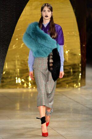 stole: PARIS, FRANCIA - 07 de octubre: Un modelo camina por la pista en la feria de Miu Miu como parte de la Semana de la Moda de París Vestimenta para mujer primavera  verano 2016 el 07 octubre, 2015, en París, Francia.