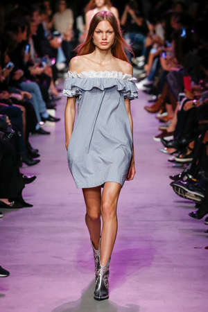 frisky: PARIS, FRANCE - OCTOBER 06: A model walks the runway during the Paul and Joe show as part of Paris Fashion Week Womenswear SpringSummer 2016 on October 6, 2015 in Paris, France. Editorial
