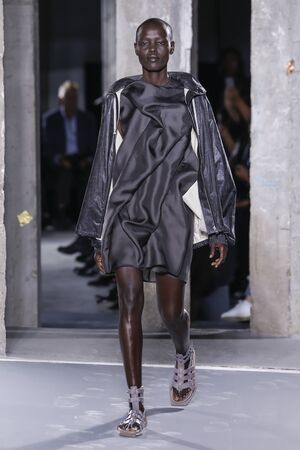 anorak: PARIS, FRANCE - OCTOBER 01: Models walks the runway during the Rick Owens show as part of the Paris Fashion Week Womenswear SpringSummer 2016 on October 1, 2015 in Paris, France. Editorial