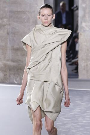 rick: PARIS, FRANCE - OCTOBER 01: Models walks the runway during the Rick Owens show as part of the Paris Fashion Week Womenswear SpringSummer 2016 on October 1, 2015 in Paris, France. Editorial