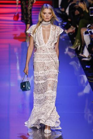 supermodel: PARIS, FRANCE - OCTOBER 03: Lily Donaldson walks the runway during the Elie Saab show as part of the Paris Fashion Week Womenswear SpringSummer 2016 on October 3, 2015 in Paris, France.