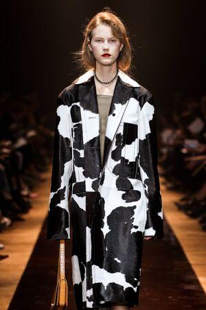 nina: PARIS, FRANCE - OCTOBER 03: A model walks the runway during the Nina Ricci show as part of the Paris Fashion Week Womenswear SpringSummer 2016 on October 3, 2015 in Paris, France.