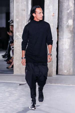 rick: PARIS, FRANCE - OCTOBER 01: Designer Rick Owens walks the runway during the Rick Owens show as part of the Paris Fashion Week Womenswear SpringSummer 2016 on October 1, 2015 in Paris, France.