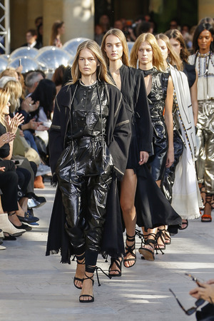 isabel: PARIS, FRANCE - OCTOBER 02: Models walk the runway finale during the Isabel Marant show as part of the Paris Fashion Week Womenswear SpringSummer 2016 on October 2, 2015 in Paris, France.