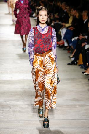 PARIS, FRANCE - SEPTEMBER 30:  Fei Fei Sun walks the runway during the Dries Van Noten show as part of the Paris Fashion Week Womenswear SpringSummer 2016 on September 30, 2015 in Paris, France. Editorial