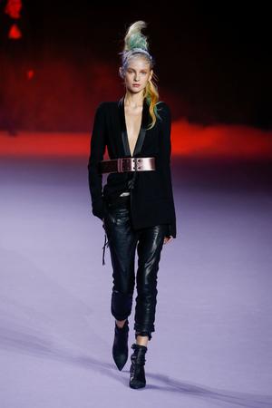 shrunken: PARIS, FRANCE - OCTOBER 03: A model walks the runway during the Haider Ackermann show as part of the Paris Fashion Week Womenswear SpringSummer 2016 on October 3, 2015 in Paris, France.