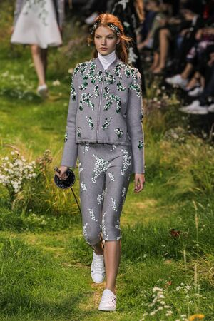 sweatsuit: PARIS, FRANCE - OCTOBER 07: A model walks the runway during the Moncler Gamme Rouge show as part of the Paris Fashion Week Womenswear SpringSummer 2016 on October 7, 2015 in Paris, France.