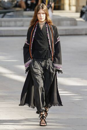 isabel: PARIS, FRANCE - OCTOBER 02: A model walks the runway during the Isabel Marant show as part of the Paris Fashion Week Womenswear SpringSummer 2016 on October 2, 2015 in Paris, France.