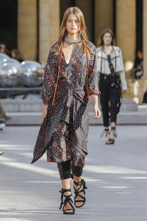 PARIS, FRANCE - OCTOBER 02: A model walks the runway during the Isabel Marant show as part of the Paris Fashion Week Womenswear SpringSummer 2016 on October 2, 2015 in Paris, France.