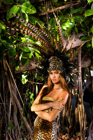 headpiece: Model posing in front of tropical tree wearing animal print resort dress and matching headpiece with feathers Stock Photo