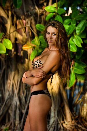 bandeau: Model posing sexy in front of tropical jungle tree background