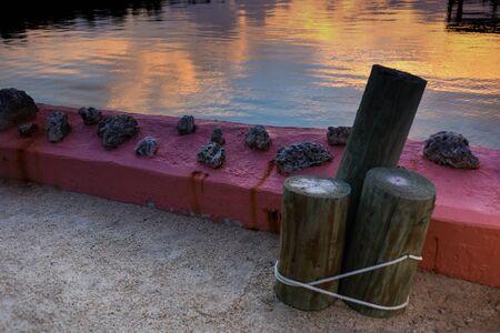 key of paradise: Sunset at tropical waterfront location of Florida Keys, Caribbean