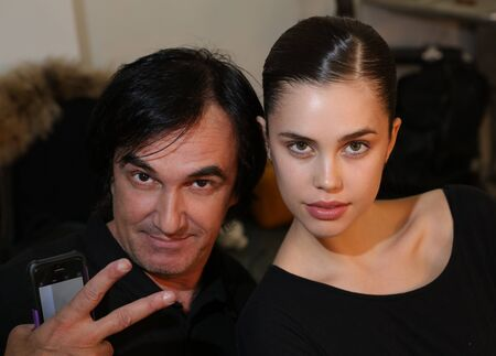 anton: NEW YORK, NY - APRIL 14: Photographer Anton Oparin (L) and model posing backstage during the Anne Barge Bridal SpringSummer 2017 Runway Show at Annex 38 on April 14, 2016 in New York City.