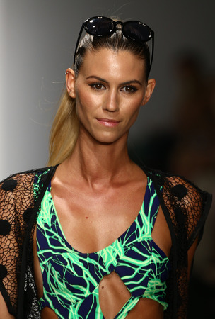 fl: MIAMI, FL - JULY 16: Models grace the catwalk in designer swim apparel during the Art Institutes fashion show for Miami Swim Week on July 16, 2015 Editorial