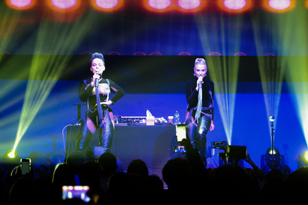 duet: NEW YORK, NY - MAY 12: Russian duet Nikita perform on the stage during their Amrerican concert tour at Stage 48 on May 12, 2016 in New York City.