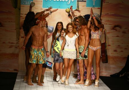 finale: MIAMI, FL - JULY 19: Maaji designers Manuela and Amalia Sierra and models walks runway finale during the Maaji Swimwear fashion show at W hotel for Miami Swim Week on July 19, 2015 Editorial