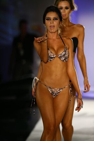 finale: MIAMI, FL - JULY 19: Models walk runway finale in designer swim apparel during the Indah Swimwear fashion show at W hotel for Miami Swim Week on July 19, 2015