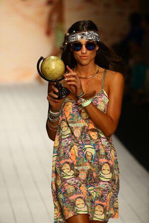 MIAMI, FL - JULY 19: A model walks runway in designer swim apparel during the Maaji Swimwear fashion show at W hotel for Miami Swim Week on July 19, 2015 Publikacyjne