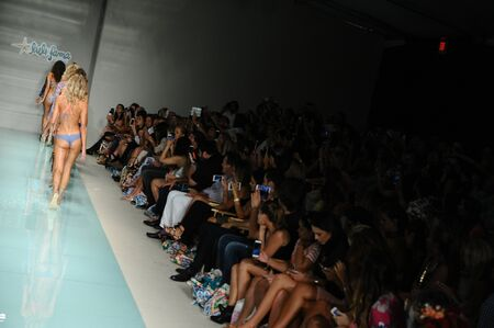finale: MIAMI, FL - JULY 16: Models walk the runway finale during Luli Fama Spring Summer 2017 Runway Show at Funkshion Sunset venue on July 16, 2016 in Miami Beach, FL Editorial