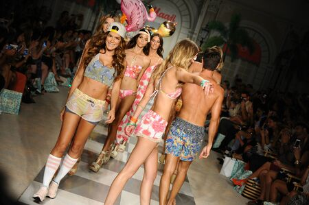 board shorts: MIAMI, FL - JULY 17: Models walk the runway finale during Maaji Spring Summer 2017 Runway Show at Funkshion tent on July 17, 2016 in Miami Beach, FL
