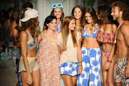 board shorts: MIAMI, FL - JULY 17: Designers and Modes walk the runway during Maaji Spring Summer 2017 Runway Show at Funkshion tent on July 17, 2016 in Miami Beach, FL Editorial