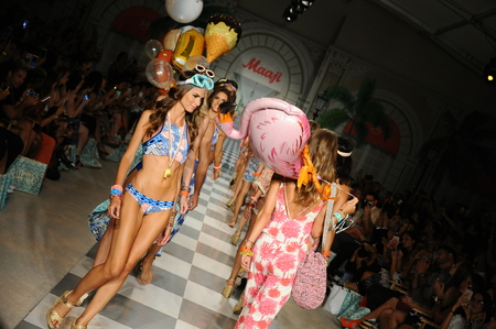 vibe: MIAMI, FL - JULY 17: Models walk the runway finale during Maaji Spring Summer 2017 Runway Show at Funkshion tent on July 17, 2016 in Miami Beach, FL