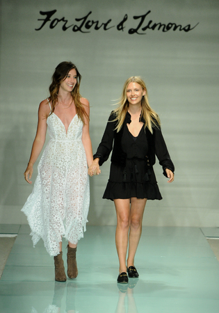 finale: MIAMI, FL - JULY 17: Designers Tess Hamilton and Ali Hoffmann walk the runway finale during For Love & Lemons Spring Summer 2017 Runway Show at Funkshion tent on July 17, 2016 in Miami Beach, FL Editorial
