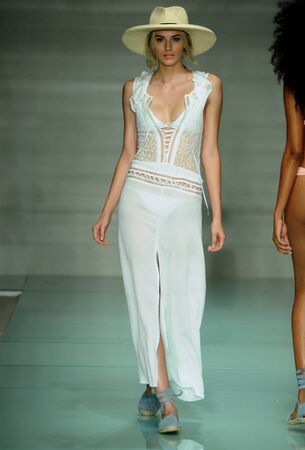 MIAMI, FL - JULY 17: Model walks the runway during For Love & Lemons Spring Summer 2017 Runway Show at Funkshion tent on July 17, 2016 in Miami Beach, FL Редакционное