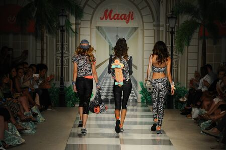 board shorts: MIAMI, FL - JULY 17: Model walks the runway during Maaji Spring Summer 2017 Runway Show at Funkshion tent on July 17, 2016 in Miami Beach, FL