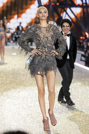 PARIS, FRANCE - NOVEMBER 30: Jourdana Phillips walks the runway during the 2016 Victorias Secret Fashion Show on November 30, 2016 in Paris, France.
