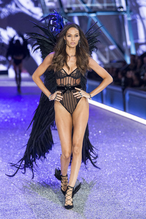 hosiery: PARIS, FRANCE - NOVEMBER 30: Joan Smalls walks the runway during the 2016 Victorias Secret Fashion Show on November 30, 2016 in Paris, France.