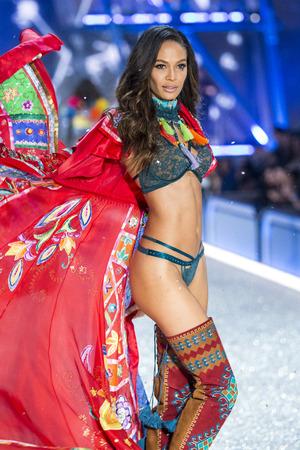 PARIS, FRANCE - NOVEMBER 30: Joan Smalls walks the runway at the Victorias Secret Fashion Show on November 30, 2016 in Paris, France. Editorial