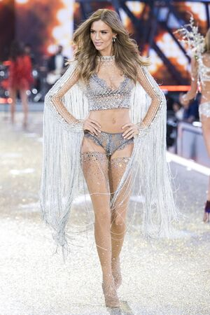 PARIS, FRANCE - NOVEMBER 30: Josephine Skriver walks the runway at the Victorias Secret Fashion Show on November 30, 2016 in Paris, France.