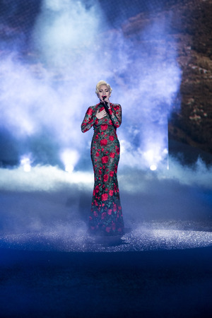 PARIS, FRANCE - NOVEMBER 30: Lady Gaga performs during the Victorias Secret Fashion Show on November 30, 2016 in Paris, France. Editorial