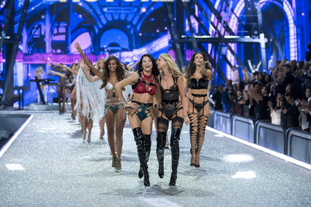 PARIS, FRANCE - NOVEMBER 30: Adriana Lima and Elsa Hosk the Victoria's Secret angels walks the runway at the Victoria's Secret Fashion Show on November 30, 2016 in Paris, France.