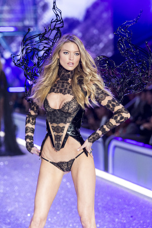 PARIS, FRANCE - NOVEMBER 30: Martha Hunt walks the runway during the 2016 Victorias Secret Fashion Show on November 30, 2016 in Paris, France.