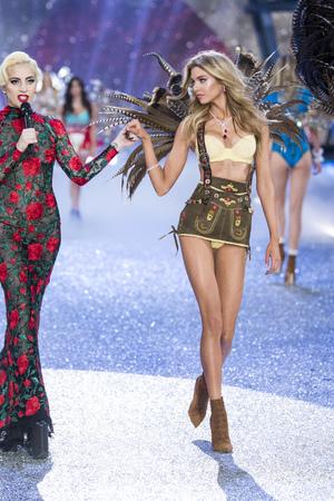 gaga: PARIS, FRANCE - NOVEMBER 30:Lady Gaga and Stella Maxwell walk the runway during the 2016 Victorias Secret Fashion Show on November 30, 2016 in Paris, France.