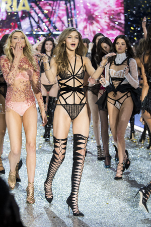 PARIS, FRANCE - NOVEMBER 30: Gigi Hadid walks the runway during the 2016 Victorias Secret Fashion Show on November 30, 2016 in Paris, France. Editorial