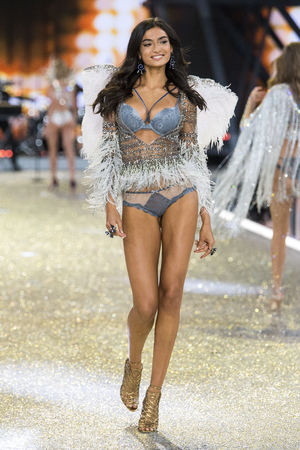 hosiery: PARIS, FRANCE - NOVEMBER 30:Kelly Gale walks the runway at the Victorias Secret Fashion Show on November 30, 2016 in Paris, France.