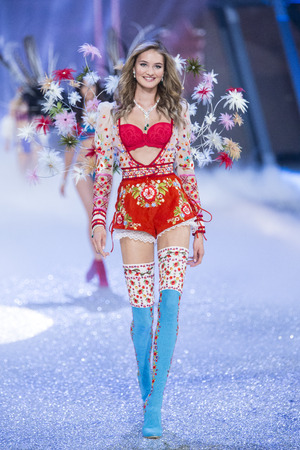 hosiery: PARIS, FRANCE - NOVEMBER 30: Sanne Vloet walks the runway at the Victorias Secret Fashion Show on November 30, 2016 in Paris, France.
