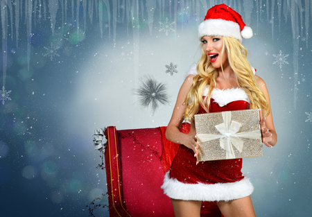 Sexy Santas Helper - Holiday Happy New Year postcard Wallpaper Template Stock Photo
