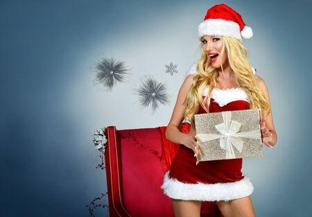 Sexy Santas Helper Holiday postcard wallpaper template.