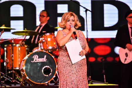 NEW YORK, NY - NOVEMBER 27: Producer Stella Boyadjian making a speech on stage during the Big Apple Music Awards 2016 Concert at Master Theater on November 27, 2016 in Brooklyn NY.