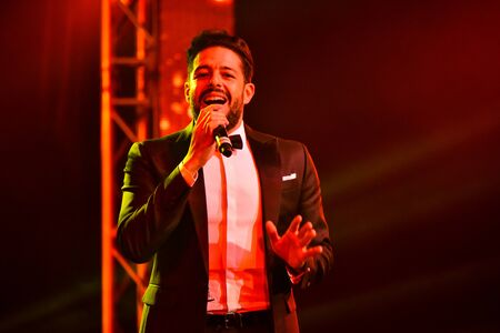 NEW YORK, NY - NOVEMBER 27: Singer Mohamed Hamaki performing on stage during the Big Apple Music Awards 2016 Concert at Master Theater on November 27, 2016 in Brooklyn NY.