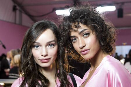 PARIS, FRANCE - NOVEMBER 30: Models Luma Grothe and Alanna Arrington pose backstage prior the 2016 Victorias Secret Fashion Show on November 30, 2016 in Paris, France. Editorial