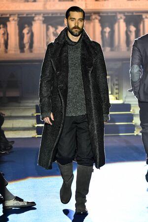 NEW YORK, NY - JANUARY 30: A model walks the runway at the Joseph Abboud NYFW: Mens at Saint Stephens Church on January 30, 2017 in New York City.