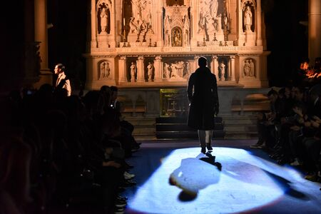 cinematic: NEW YORK, NY - JANUARY 30: A model walks the runway at the Joseph Abboud NYFW: Mens at Saint Stephens Church on January 30, 2017 in New York City.