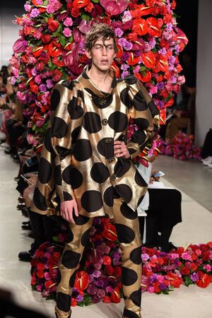 transgender gay: NEW YORK, NY - FEBRUARY 02: A model walks the runway at the Palomo Spain Collection during NYFW: Mens at the Cadillac House on February 2, 2017 in New York City.